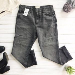 {Anthro} Free People High Waisted Cropped Jeans 31